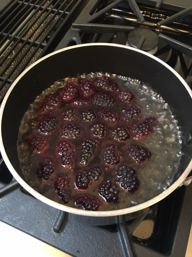 Let the sugar, water and blackberries simmer